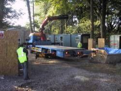 First unit in stand-alone small classroom arrives on site